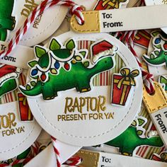 Ellen Hutson Dino-mite Christmas Tag Christmas Gift Tags, Christmas Ornaments, Mama Elephant, Presents, My Favorite Things, Holiday Decor, Gifts, Christmas Jewelry, Favors