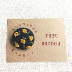 Hand embroidery Yuzu walnut button brooch