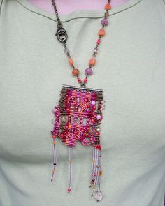 Unique micro macrame necklace pendant Pink by MartaJewelry