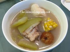 Soup Name: Fuzzy Melon with Corn in Pork Bones Soup Traditional Chinese Name: 节瓜玉米豬骨湯 (jié guā yù mǐ zhū gǔ tāng) Introduction: A mildly sweet soup that is rich in vitamins and nutrients. It c...