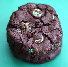 Chocolate Mint Chip Cookie Recipe on twopeasandtheirpod.com A MUST make for the holidays!