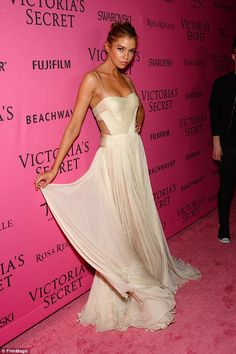 Stella Maxwell looks heavenly in sheer gown #VSFashionShow afterparty #dailymail