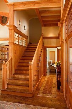 Towel LUCKY STAR dettagli home design living room design Like shape of newels Kelly Behun modern interiors design Craftsman Staircase, Craftsman Interior, Craftsman Style Homes, Craftsman Bungalows, Modern Interior, Craftsman Houses, Interior Doors, Interior Design, Interior Decorating