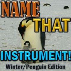 """Name That Instrument"" Winter/Penguin Orchestra Game - Elementary Music Sub Plan #musicteacher #music #elementarymusic #teaching #musicteacher #classical #classicalmusic #musicgames #musicforkids #orchestra #instruments #instrumentsoftheorchestra #familiesofinstruments #wintergames #penguingames #wintermusic"