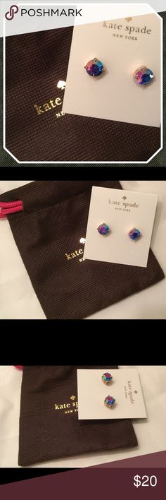 Kate Spade Blue AB Small Gumdrop Stud Earrings New This is a pair of brand new on card Kate Spade Blue AB small gumdrop earrings.  Gold tone hardware.  Dustbag included. kate spade Jewelry Earrings