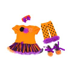 Orange Flower-Accented Baby Outfit (4pc-set), 36.3% discount @ PatPat Mom Baby Shopping App