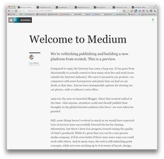 13 ways of looking at Medium, the new blogging/sharing/discovery platform from @ev and Obvious - the creators of Blogger and Twitter - Nieman Journalism Lab - http://www.niemanlab.org/2012/08/13-ways-of-looking-at-medium-the-new-bloggingsharingdiscovery-platform-from-ev-and-obvious/