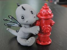 OOAK Polymer Clay Hand Crafted Baby Dragon Fire Fighter | eBay