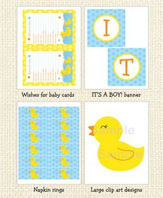 Rubber Ducky Printable Baby Shower package