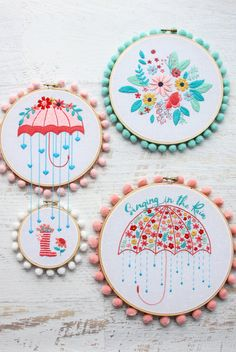 Add some fun color and pops of Spring to your decor with these Singing in the Rain Embroidery Patterns! They are great for beginner or expert stitchers! Floral Embroidery Patterns, Embroidery Hoop Art, Vintage Embroidery, Embroidery Designs, Sewing Patterns, Machine Embroidery, Embroidery Stitches, Sewing Blogs, Sewing Projects