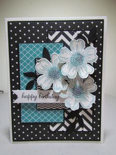Stampin' Up! Flower Shop, Express Yourself, Positively Chevron.  Basic Black, Whisper White, and Bermuda Bay Ink/ Paper