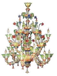 Colorful Murano glass chandelier. There is a lot of hand-work behind it. Gorgeous!