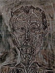 """Hombre desfragmentado"" Mixta sobre papel  65 x 50 (25.5"" x 19.5"")"