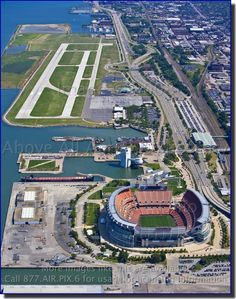 Aerial photo of Cleveland Stadium and Burke Lakefront Airport (BKL)