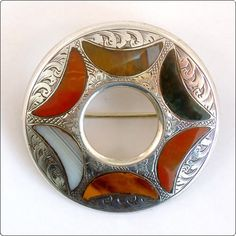 Victorian Sterling Silver Scottish Agate Plaid Brooch