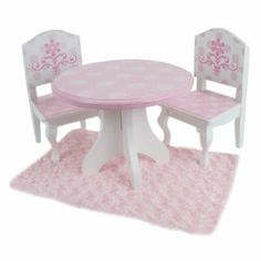 18 Inch Doll Table & Chairs Set, For American Girl Dolls and More, Pink and White Hand Painted Doll Table and Two Doll Chairs Set by Sophia's. $52.95. 2 Pink and White Hand Painted Chairs - A High Quality Set, Safety Tested and will endure the test of time!. Easy to assemble and a lovely family heirloom, perfect for 18 Inch American Girl Dolls, Gotz, Corolle, Sophia's, Baby Dolls and More!. Pink and White Hand Painted Round Table with Slight Distressed Detail. Pink a...