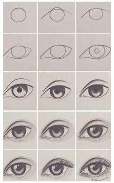 Easy Drawing Tutorial, Eye Drawing Tutorials, Easy Drawing Steps, Step By Step Drawing, Drawing Techniques, Eye Tutorial, Drawing Lessons, Drawing Ideas, Eye Drawing Simple