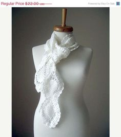 ON SALE White Long scarf   Last day !http://www.etsy.com/shop/crochetlab By Crochetlab 2012 Spring by crochetlab, $18.70