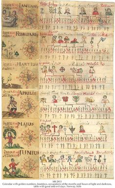 MS 2913. CALENDAR WITH GOLDEN NUMBERS, FEASTDAYS, OCCUPATIONS OF THE MONTHS AND HOURS OF LIGHT AND DARKNESS, TABLE WITH GOOD AND EVIL DAYS. MS in Norwegian and Latin on vellum, Uvdal, Norway, 1636, 30 ff. (complete), 5,5x5,5 cm. Not bound but plied together to form a book, in its original girdle type leather covered wooden box. www.schoyencollection.com