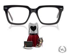 Hipster romântica. Óculos Via Lorran, saia vermelha e blusa de coração.