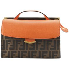 Pre-Owned Fendi 8BT245 Demi Jour Zucca Canvas & Orange Leather... ($1,200) ❤ liked on Polyvore featuring bags, handbags, shoulder bags, orangexbrown, canvas crossbody purse, crossbody shoulder bag, red leather purse, fendi crossbody and leather crossbody purse