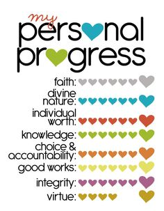 personal progress tracking chart: just the right size to fit in your scriptures or personal progress book!