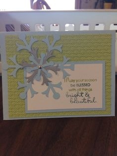 Stampin Up Christmas Card  used Bashful Blue, Certainly Celery, and Whisper White paper from Stampin Up and Silver paper - non Stampin Up.