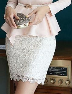 Lace Stretchy Medium Above Knee Skirts