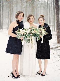 Winter bridesmaids in black | Photography: Laura Leslie Photography - www.lauralesliephotography.com Photography: Gracie Blue Photography - www.grblue.com  Read More: http://www.stylemepretty.com/2014/04/24/enchanted-winter-wedding-inspiration/