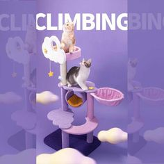 This cute Moonlight Cat Climbing Frame Tree Tower allows cats to scratch, climb, move, and jump and protect their furniture and walls. Shop at happyandpolly.com for it. Sailor Moon Cat, Cat Climbing Tree, Cat Gym, Online Pet Store, Cat Towers, Cat Paws, Dog Cat, Cat Tree, Cat Collars