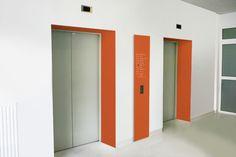 Helka Typeface & Hospital signage by Iwona Przybyla, via Behance  Bright color contrast doorway and signage panel wayfinding
