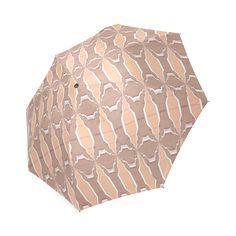 Beige spring  umbrella by Annabellerockz Custom  Auto Foldable Umbrella 01.Umbrella with geometric pattern designs by Annabellerockz
