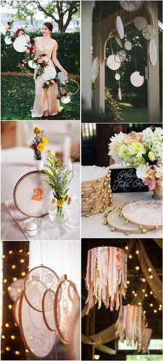 Boho wedding ideas- embroidery hoops wedding decor ideas