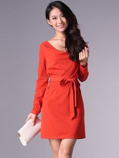 Orange 95% Polyester 5% Spandex Women Long Sleeves Dress