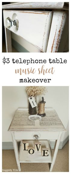 Turn a thrifted find into something more! Like this $3 Telephone Table Music Sheet Makeover. Perfect to add some farmhouse charm to your decor all using Miss Mustard Seed Milk Paint - Farmhouse White | Full Tutorial | www.raggedy-bits.com