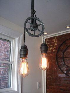 Pulley Light - Industrial Light - Steampunk Ceiling Light- Industrial Lighting (Edison Bulbs Sold Seperately) by WestNinthVintage on Etsy https://www.etsy.com/listing/206898955/pulley-light-industrial-light-steampunk