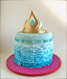 Sara Elizabeth Custom Cakes: Elsa Crown from Disney's Frozen--Free Template and Tutorial. Great to use with gumpaste, fondant, or paper! Disney Frozen Elsa Cake, ombre fondant ruffles, isomalt gems, gumpaste crown.