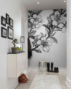 Love this oversize flower mural--looks like an old etching! Bedroom Murals, Bedroom Wall, Bedroom Decor, Bedroom Ideas, Mural Art, Wall Murals, Wall Art, Flower Mural, Wall Drawing