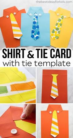 Grab the free tie template to make this shirt card for Father's Day! Free shirt … Grab the free tie template to make this shirt card for Father's Day! Make this shirt card for Fathers Day. An Easy Fathers Day Craft for Kids! Fathers Day Art, Easy Fathers Day Craft, Diy Father's Day Gifts Easy, Father's Day Diy, Tie Crafts, Paper Crafts, Decor Crafts, Preschool Crafts, Diy Crafts For Kids