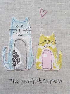 This piece of original textile art / appliqué art will be handmade my me , and gives you a truly unique piece of my work for your home or to give as a gift. This quirky cat picture would make a lovely wedding gift, anniversary gift or engagement gift. This item can be personalised