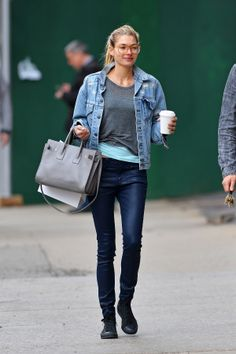 Jessica Hart goes casual in a denim jacket and t-shirt // #Fashion #StreetStyle