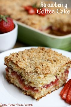 Strawberry Coffee Cake - Moist buttery cake with a sweet strawberry inner filling and a delicious crumb topping! Recipe from TastesBetterFromScratch.com