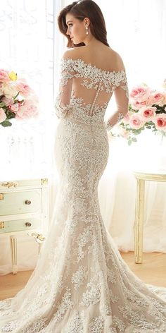 mermaid off the shoulder simple illusion back long sleeves wedding dresses sophia tolli spring bridal collection