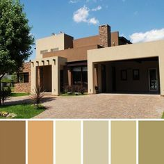 Facades and exterior paint colors Cafe Exterior, House Paint Exterior, Exterior Paint Colors, Exterior House Colors, Modern Exterior, Outdoor House Colors, Pintura Exterior, House Outside Design, Southwestern Home