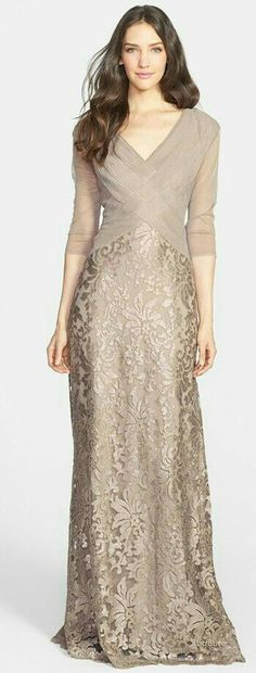 Cheap mother of bride, Buy Quality mother of bride dress directly from China mother of the bride Suppliers: Elegant Mother of the Bride Dress V-Neck Khaki Lace Pleats Vestidos De Festa Half Sleeves Floor-Length Evening Prom Dresses Wedding Dress Chiffon, Lace Dress, Wedding Dresses, Bride Dresses, Batik Dress, Lace Maxi, Lace Bodice, Wedding Bride, Elegant Dresses