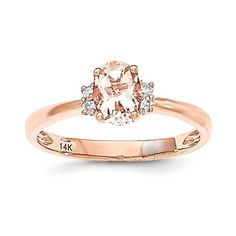 - Metal Material: 14k Rose Gold (solid) - Average Weight: 1.86gm - Genuine Diamond - Genuine Morganite Stone Type: Diamond Stone Creation Method:Natural Stone Shape:Round Stone Color:White Stone Size:
