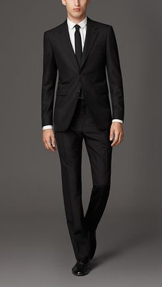 Black Modern Fit Wool Suit - Burberry
