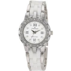 Anne Klein Women's 109457WTSV Swarovski Crystal Silver-Tone White Ceramic Bracelet Watch (Watch) | click image for more information or to buy it