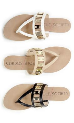 Flat sandals with gold-toned hardware for spring & summer
