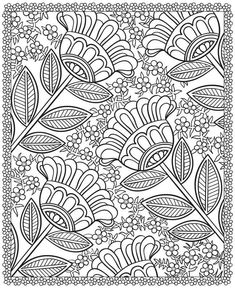 free printable pattern the Site has 4 other flower coloring pages -- from Dover Publications Free Adult Coloring Pages, Coloring Book Pages, Printable Coloring Pages, Free Coloring, Coloring Sheets, Coloring For Adults, Doodle Coloring, Mandala Coloring, Dover Publications